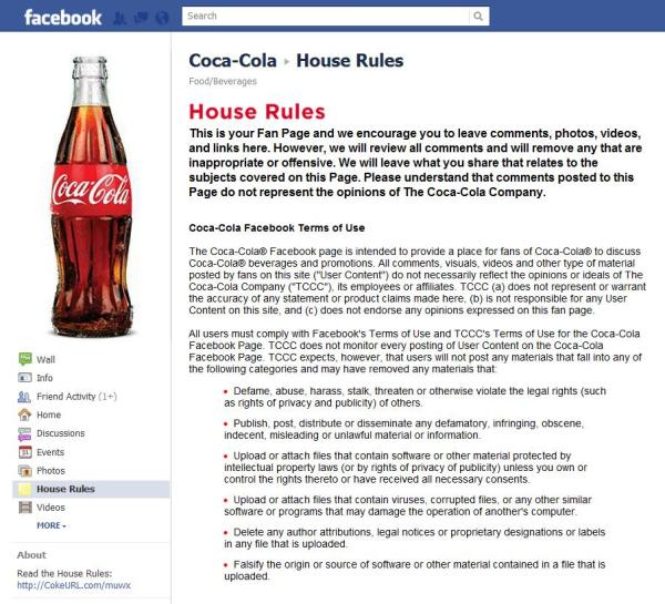 House Rules von Coca Cola