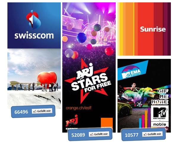 Die Facebookseiten von Swisscom, Orange und Sunrise im Vergleich