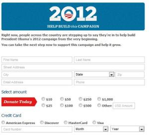 Online-Spendenformular bei Barack Obama