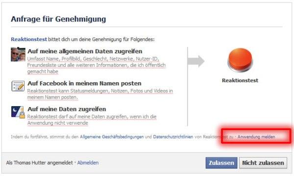 Anwendungen bei Facebook melden