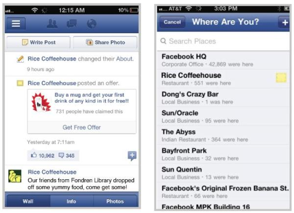 Ansicht auf dem Mobile-Gerät im Newsfeed oder beim Check-In in einen Facebook Place/Ort