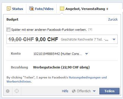 Facebook Angebote erstellen - Werbebudget