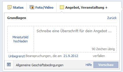 Facebook Angebote erstellen - nur online