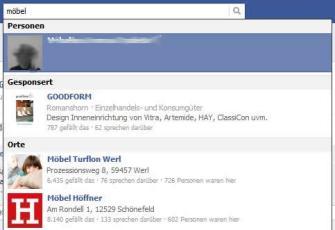 """Beispiel Werbeanzeige """"Sponsored Results"""" zu """"Möbel"""""""