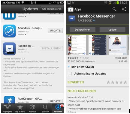 Update auf die iOS 2.1 und Android 2.2.4 Version