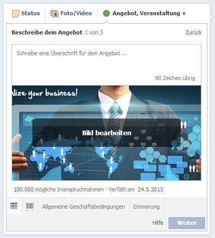 Grössere Bilddarstellung bei Angeboten für Facebook Seiten