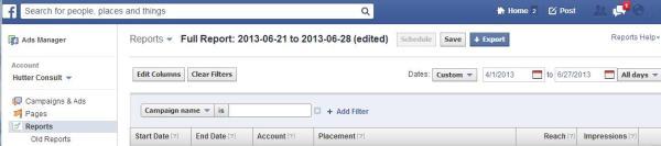 Selektionsmöglichkeiten im Facebook Ads Manager (Reporting)