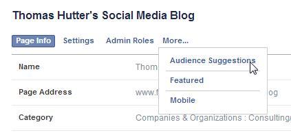 Neue Seiten Administration für Facebook Seiten - Erweitertes Menü