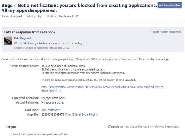 Bugmeldung im Developers Bereich von Facebook