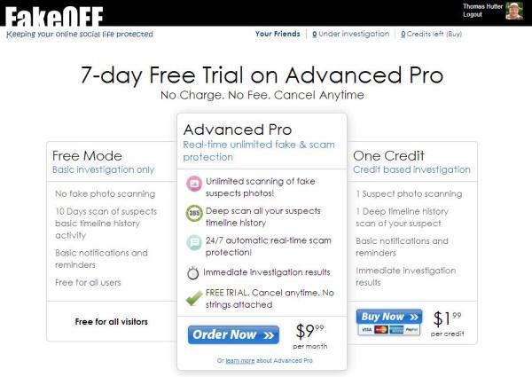 FakeOFF 7 Tage kostenlos oder $9.99 im Monat