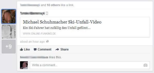 News Feed mit Hinweis auf Michael Schumacher Ski-Unfall-Video