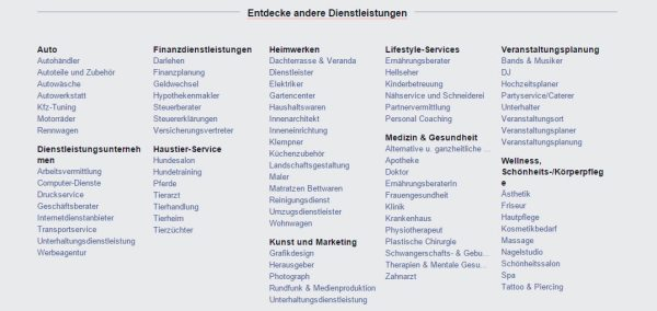 Kategorien in Facebook Services