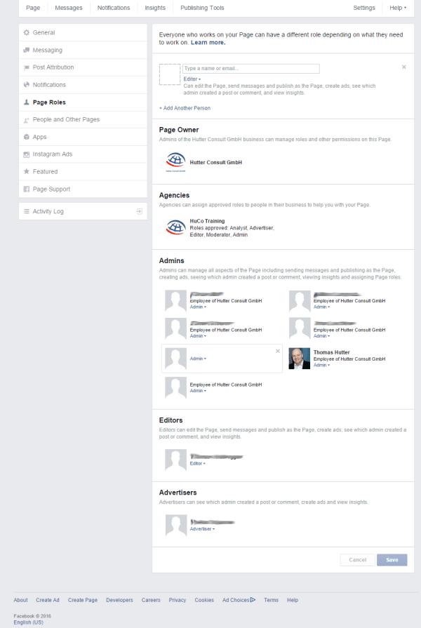 Neue Rollenverwaltung von Facebook Seiten