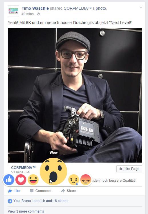 Facebook Reactions im News Feed Desktop