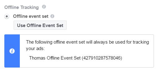 Auswahl Offline Event Set in der Werbeanzeige