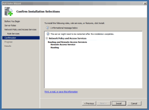 Install Role Network policy and Access Services
