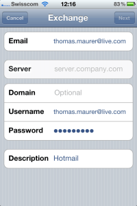 iPhone Mail Accounts Hotmail Exchange