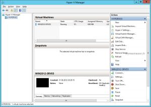 Windows Server 2012 Hyper-V Manager