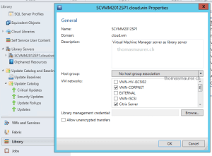 SCVMM Library Settings VM Networks