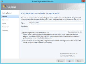 SCVMM Logical Switch Name