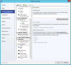 Virtual Machine Manager Availability Sets VM Config