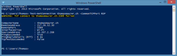Test-NetConnection PowerShell Portscan
