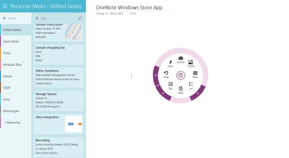 OneNote Windows Store App