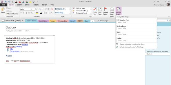Outlook meeting integration