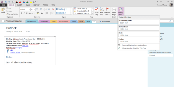 Outlook meeting integration