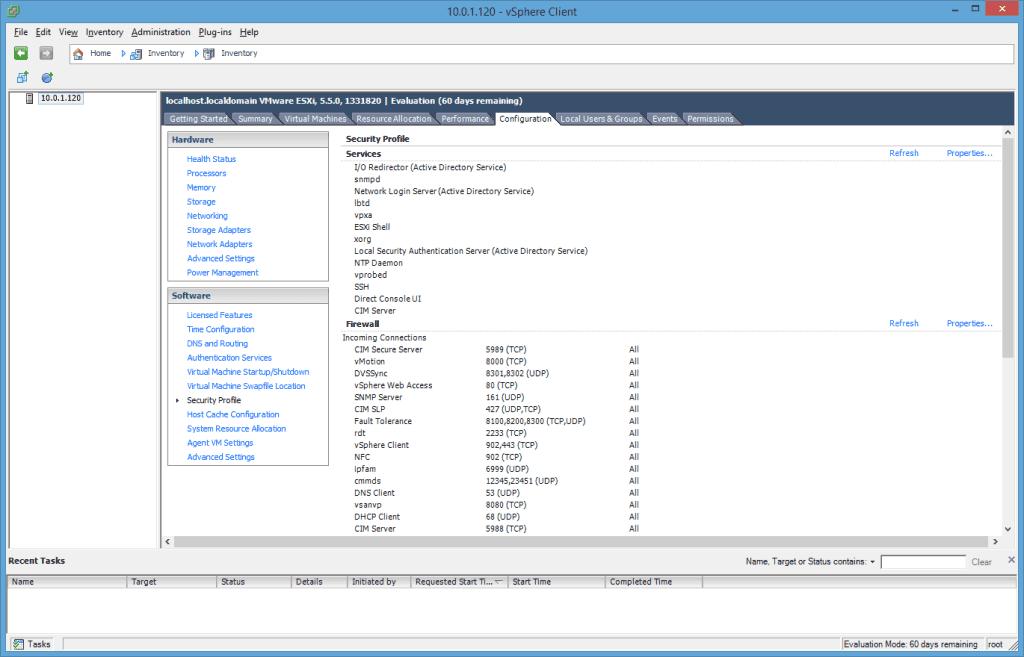 Perfil VMware ESXi vSphere Client Security