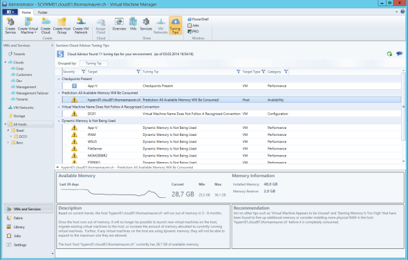 Savision Cloud Advisor VMM Tuning Tips