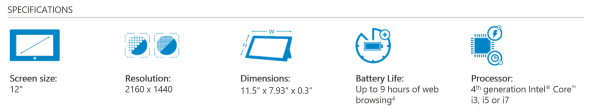 Surface Pro 3 Specifications