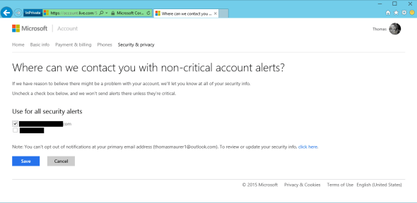 Microsoft Account Security Info Notifications