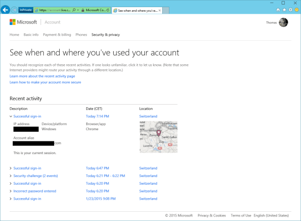 Microsoft Account Security Resent activity
