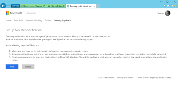 Microsoft Account Two-Step Verification