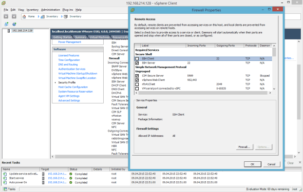 VMware ESXi 6.0 Firewall SSH Port