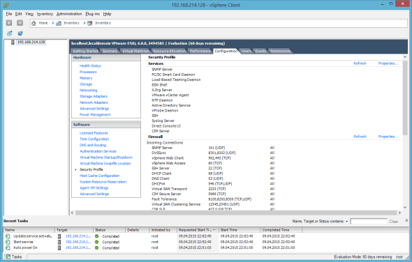 VMware ESXi 6.0 Security Profile