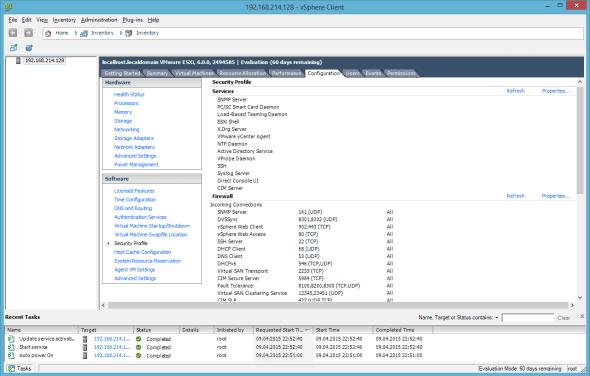 VMware ESXi 6.0 Security Profile