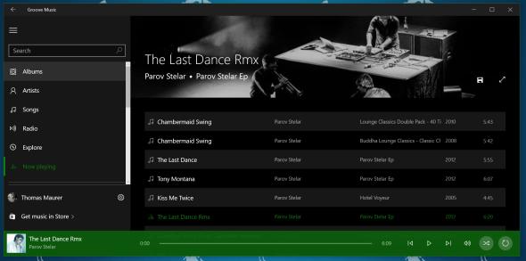 Windows 10 Groove Music