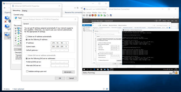 Hyper-V Virtual Switch NAT Configuration