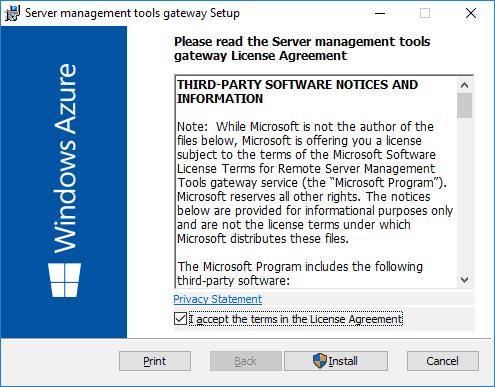 Azure Remote Server Management Gateway Installer