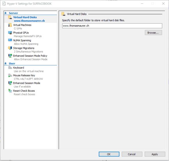 Hyper-V Settings Windows 10 Build 14361