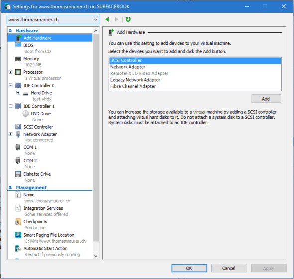Hyper-V VM Settings Windows 10 Build 14361