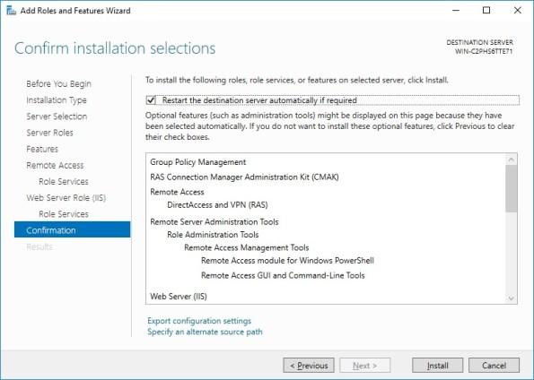 Confirm Installation Windows Server 2016 VPN