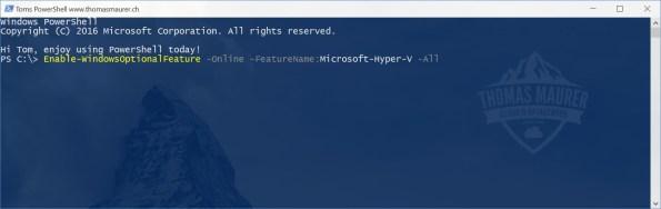 Install Hyper-V on Windows 10 using PowerShell