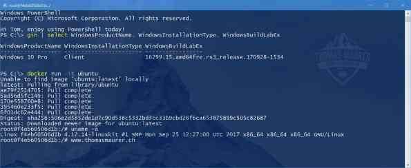 Docker Run Ubuntu on Windows 10 Verions