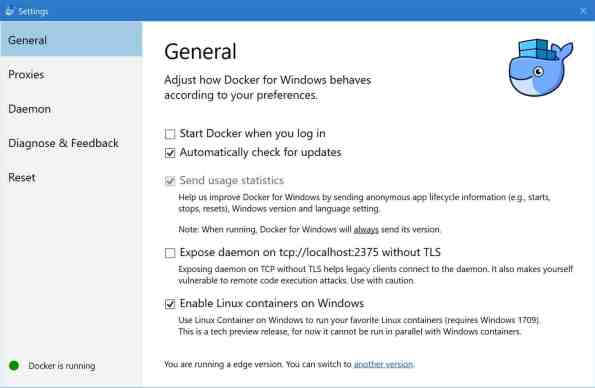 Docker for Windows Settings Enable Linux contianers on Windows