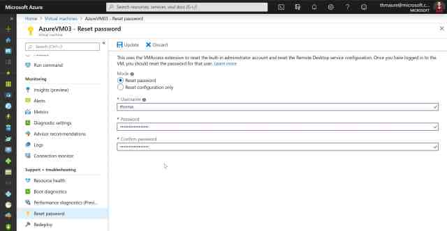 How to Reset RDP and Admin Password of an Azure VM - Thomas Maurer