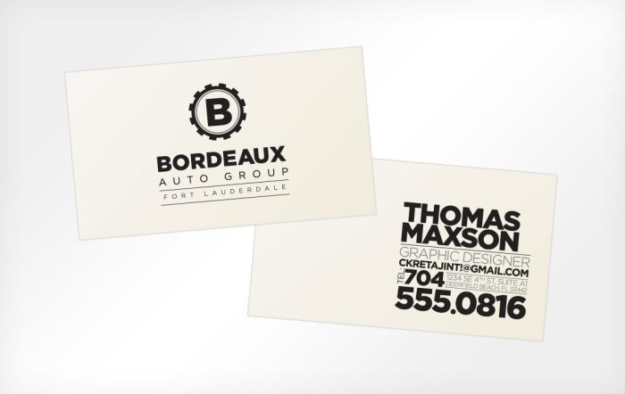 Bordeaux Auto Group, business cards