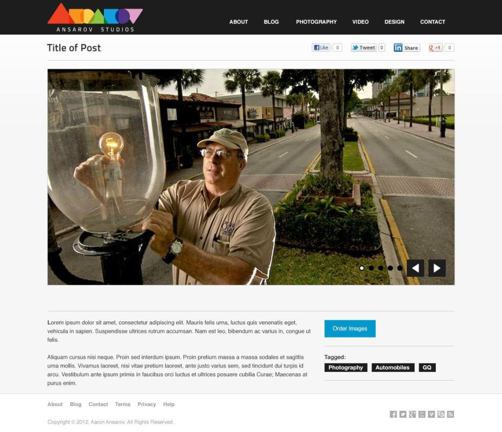 Ansarov Studios website deign, blog post